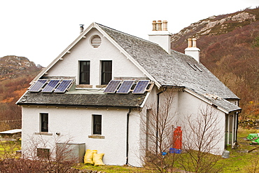 The Old School house, electricity provided by solar panels and a hydro turbine in the nearby stream,Torran, Isle of Raasay, Scotland, United Kingdom, Europe
