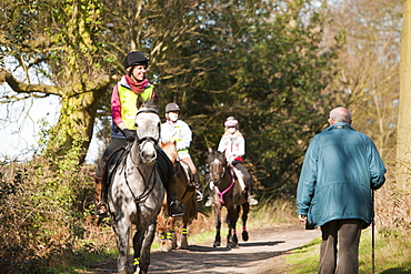 Horse trekking and walking near Woodhouse Eaves in Leicestershire, England, United Kingdom, Europe