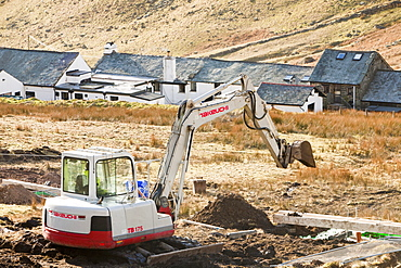 Work starts on the initial groundworks for three wind turbines to be constructed behind the Kirkstone Pass Inn on Kirkstone Pass in the Lake District, Cumbria, England, United Kingdom, Europe