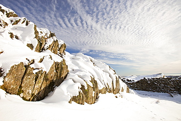 Mackerel skies over Red Screes in the Lake District, Cumbria, England, United Kingdom, Europe