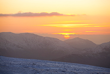 Looking west from Red Screes summit towards the Coniston Fells and Harter Fell, Lake District, Cumbria, England, United Kingdom, Europe