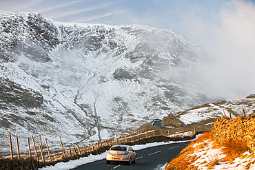 Kirkstone Pass in winter looking towards Red Screes, Lake District, Cumbria, England, United Kingdom, Europe