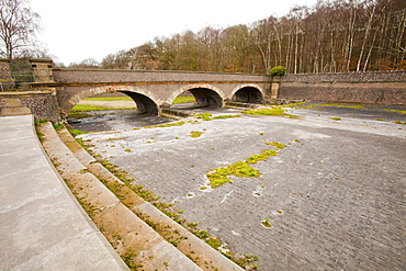 The overflow of Swithland Reservoir in March 2012 near Loughborough in Leicestershire, England, United Kingdom, Europe