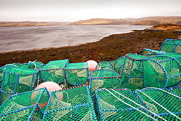 Lobster pots or creels on the harbour at Portnalong, Isle of skye, Scotland, United Kingdom, Europe