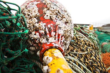 Fishing gear on the harbour at Portnalong, Isle of skye, Scotland, United Kingdom, Europe
