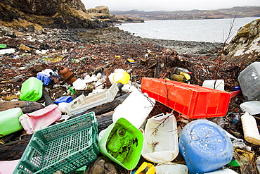 Plastic debris washed ashore at Ardtreck Bay on the Isle of Skye, Scotland, United Kingdom, Europe