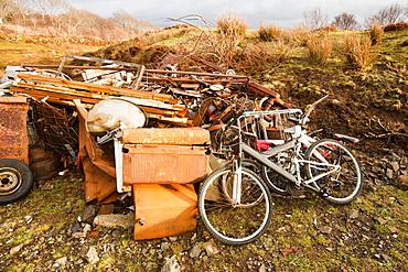 Scrap metal on the Aird of Sleat, Isle of Skye, Scotland, United Kingdom, Europe