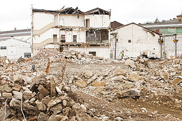 Demolition of an old mill building in Keighley, West Yorkshire, Yorkshire, England, United Kingdom, Europe
