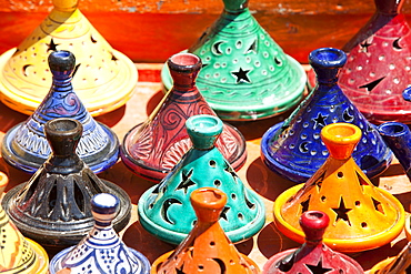 Tagines on a stand at a souk in Marrakech, Morocco, North Africa, Africa