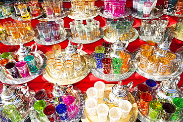 Silver Arabic tea pots, glasses and trays in a souk in Marrakech, Morocco, North Africa, Africa