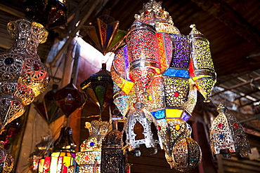 Morrocan lighting on a stand at a souk in Marrakech, Morocco, North Africa, Africa
