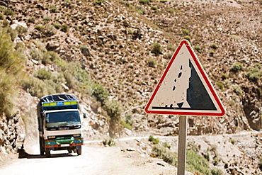 A truck heading into Taroudannt province, on a mountain road in the Atlas mountains of Morocco, North Africa, Africa