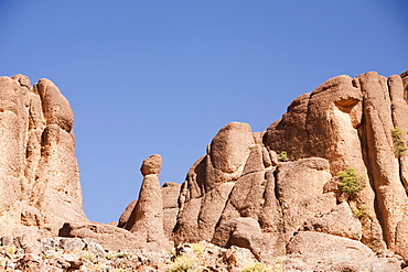 Eroded granite boulders in a valley in the Anti Atlas mountains of Morocco, North Africa, Africa