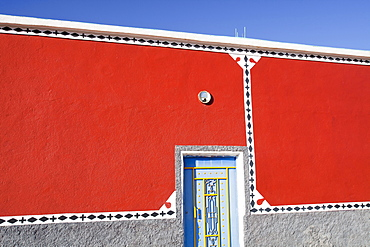 A steel door on a house in a Berber village in the Anti Atlas mountains, Morocco, North Africa, Africa
