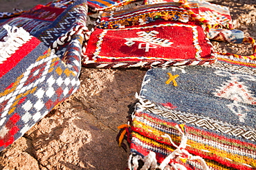 Berber Moroccan woven cloth rugs and bags in the Anti Atlas mountains of Morocco, North Africa, Africa