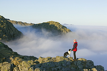 Above the clouds on Crinkle Crags in the Lake District National Park, Cumbria, England, United Kingdom, Europe