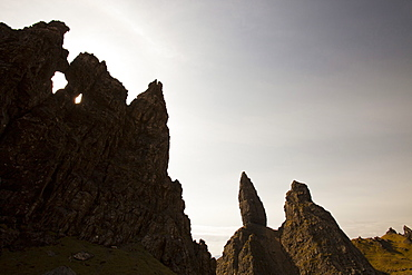 Rock formations by the Old Man of Storr on the Trotternish Peninsula, Isle of Skye, Scotland, United Kingdom, Europe