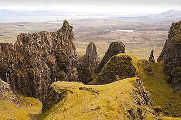 The Table and Prison at the Quiraing an amazing landscape on the Trotternish Peninsula, Isle of Skye, Scotland, United Kingdom, Europe