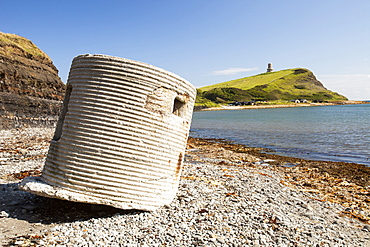 An old 2nd World War pill box on the beach at Kimmeridge Bay, Jurassic Coast, Dorset, UNESCO World Heritage Site, England, United Kingdom, Europe