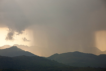 A thunder storm passing over the Langdale Pikes in the Lake District National Park, Cumbria, England, United Kingdom, Europe
