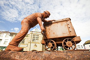 A sculpture in Millom depicting the area's heritage for iron ore mining, Millom, Cumbria, England, United Kingdom, Europe
