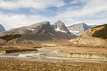 Glaciers receding rapidly on the Columbia Icefield off the Icefields Parkway, Jasper National Park, UNESCO World Heritage Site, Alberta, Canadian Rocky Mountains, Canada, North America