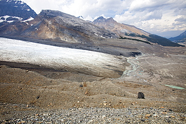 Lateral moraine showing the rate of retreat of the Athabasca Glacier, Jasper National Park, UNESCO World Heritage Site, Alberta, Rocky Mountains, Canada, North America