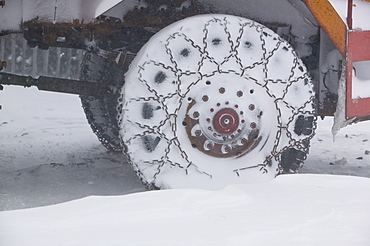 A snow plough in a blizzard at the Cairngorm Ski Resort which was closed due to stormy weather, Scotland, United Kingdom, Europe