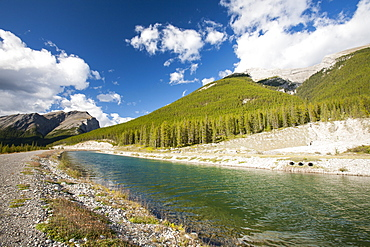 Funneling water around the Rockies to the Rundle Hydro Power Plant above Canmore, Bnaff National Park, UNESCO World Heritage Site, Alberta, Canadian Rockies, Canada, North America