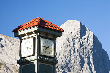 A clock tower in Canmore in Banff National Park, UNESCO World Heritage Site, Alberta, Canadian Rockies, Canada, North America