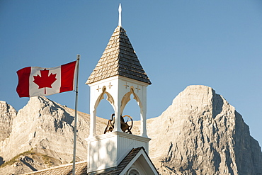The United Church of Canada in Canmore in Banff National Park, UNESCO World Heritage Site, Alberta, Canadian Rockies, Canada, North America