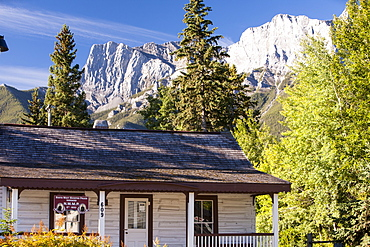The old preserved barracks of the North West Mounted Police in Canmore in the Canadian Rockies in Banff National Park, UNESCO World Heritage Site, Alberta, Canada, North America