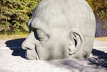 A sculpture named Big Head, a translation of the Gaelic Ceann Mar, in Canmore, Banff National Park, Alberta, Rocky Mountains, Canada, North America