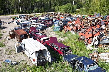 A scrap metal dump in Fort Chipewyan, Alberta, Canada, North America