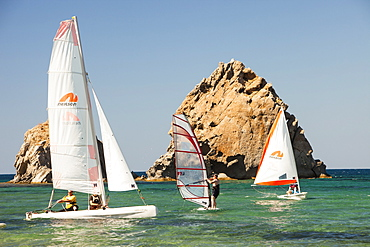Sailing boats at holiday complex in Myrina, on Lemnos, Greek Islands, Greece, Europe