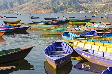 Rowing boats on Phewa Lake, Pokhara, Nepal, Asia