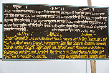 A sign banning meat products from the Annapurna Sanctuary, Nepal, Asia