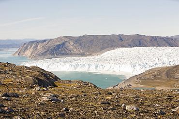 The Eqip Sermia glacier receeding rapidly due to global warming on the west coast of Greenland, Polar Regions