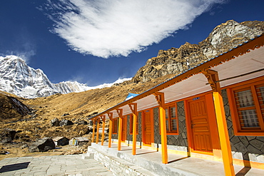 A tea house lodge on the Annapurna Base Camp trek at Machapuchare Base Camp, Himalayas, Nepal, Asia