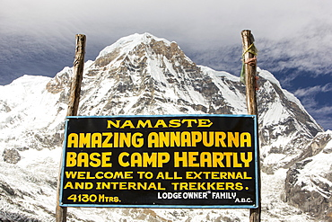 Annapurna Base Camp at 4130 metres in front of Annapurna South summit, Annapurna Sanctuary, Himalayas, Nepal, Asia