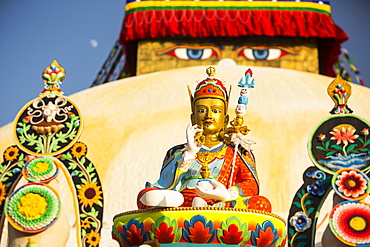 Buddhist symbols at the Boudhanath Stupa, one of the holiest Buddhist sites in Kathmandu, UNESCO World Heritage Site, Nepal, Asia