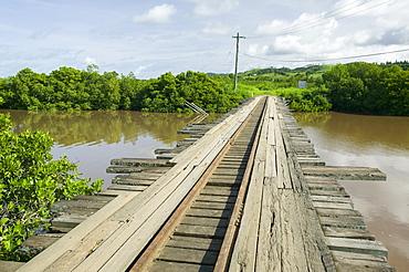 A wooden bridge on Fiji, Pacific