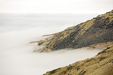 The Kirkstone Pass quarry above Ambleside with mist from a temperature inversion, Lake District, Cumbria, England, United Kingdom, Europe