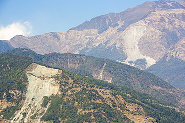 Massive landslides in the Annapurna Himalayas, Nepal, Asia