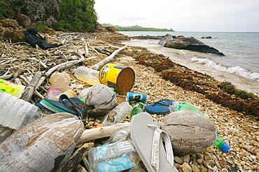 Rubbish washed up on Malolo island off Fiji, Pacific
