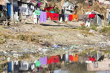 Litter in the Bishnumati River running through Kathmandu in Nepal, Asia