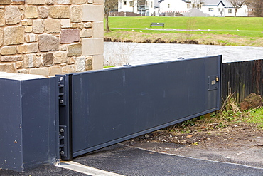 A flood gate, part of the new flood defences in Cockermouth, Cumbria, England, United Kingdom, Europe