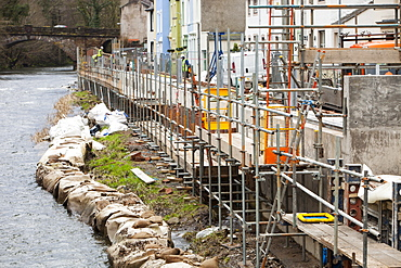 The new flood defences in Cockermouth, Cumbria, England, United Kingdom, Europe