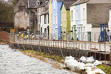 The new flood defences in Cockermouth, Cumbria, England, United Kingdom, Europe