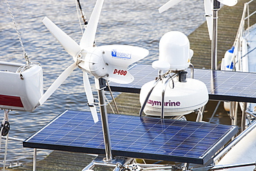 Solar panels and wind turbines to provide power on a yacht, United Kingdom, Europe